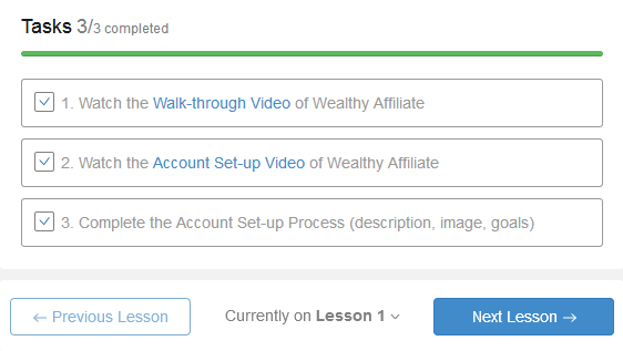 Wealthy Affiliate Lesson Checkboxes