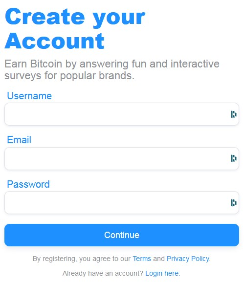 BTCsurveys Account Creation