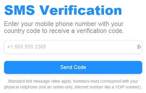 BTCsurveys SMS Verification