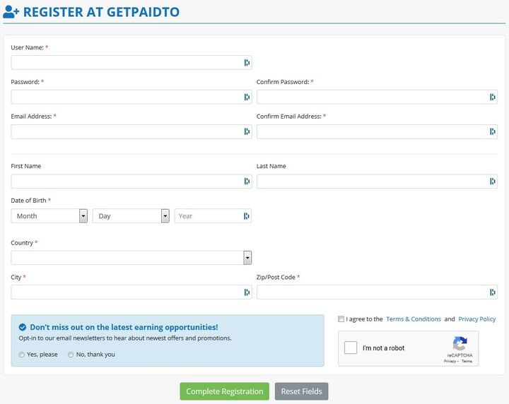 GetPaidTo Registering Account