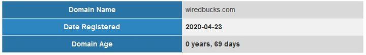 WiredBucks Domain Age