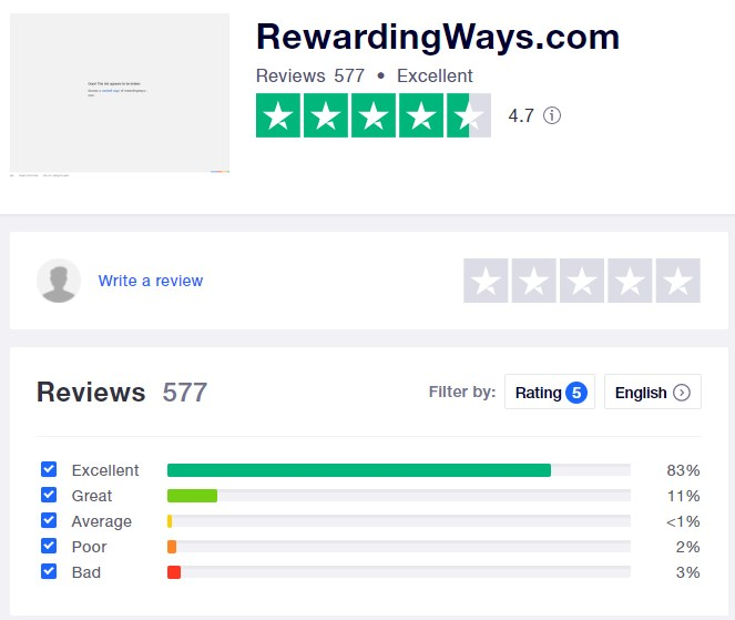 RewardingWays Trustpilot Review