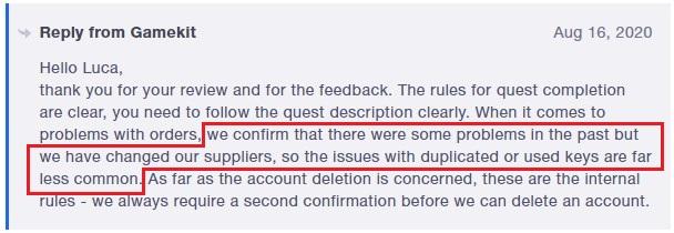 gamekit customer service reply