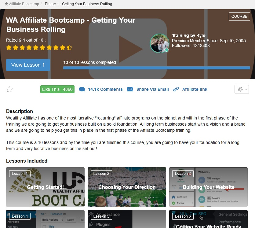 Wealthy Affiliate - Affiliate Bootcamp Course